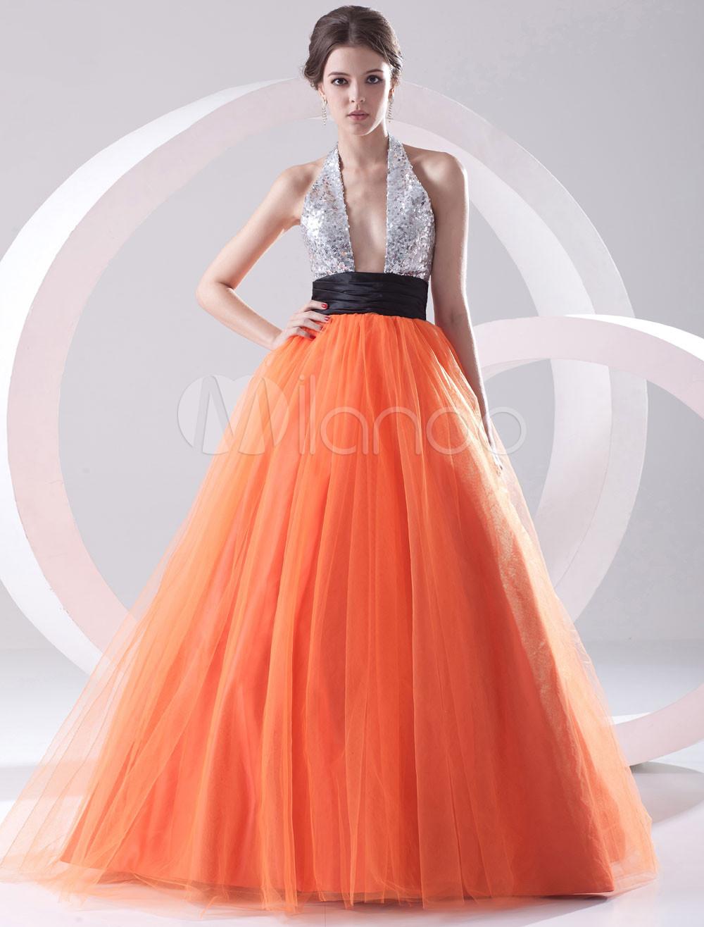 Vestidos De Baño Estilo Halter:de malla de color naranja con lentejuelas con escote Halter de estilo