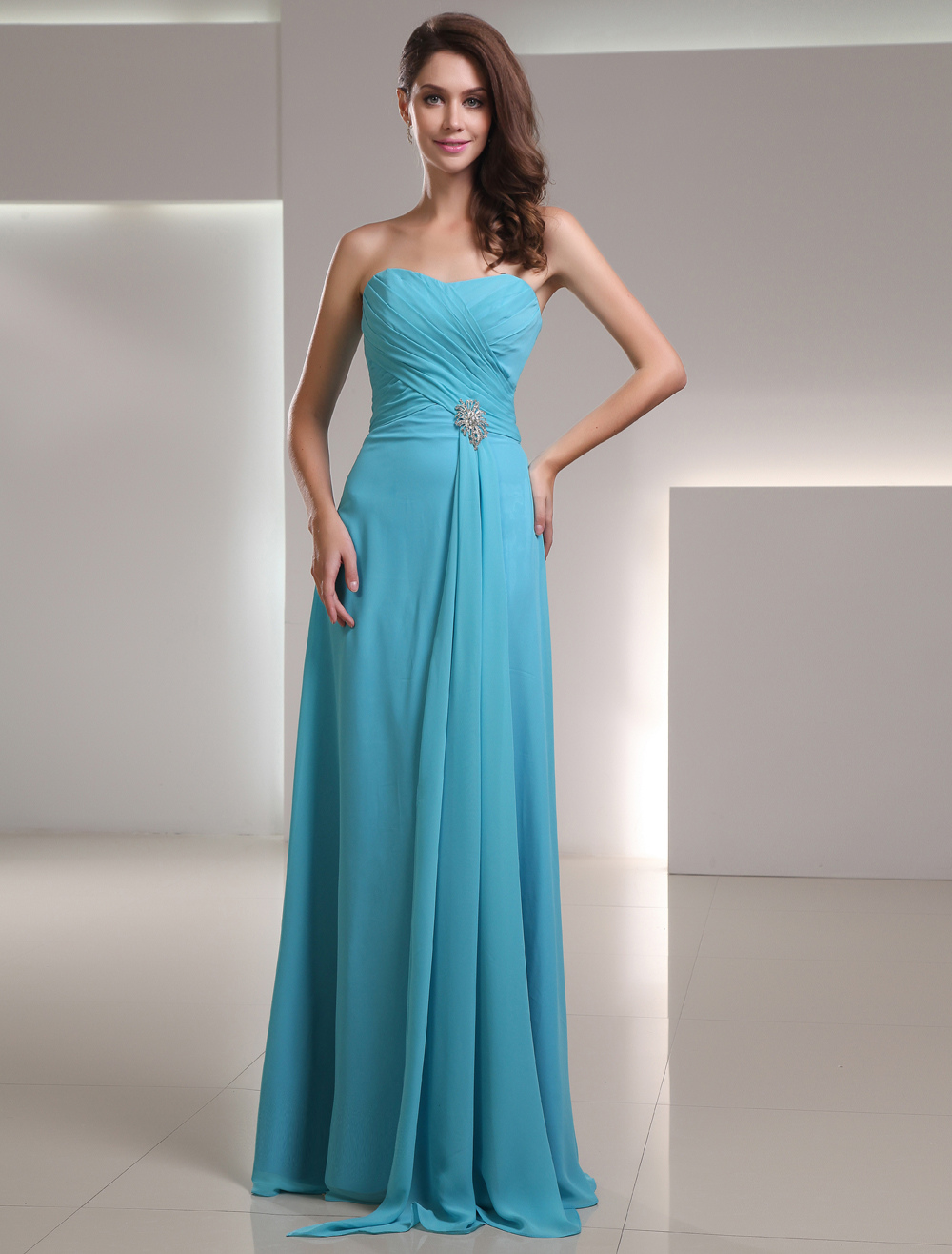 Long Bridesmaid Dress Chiffon Aqua Sweetheart Strapless Floor Length Wedding Party Dress