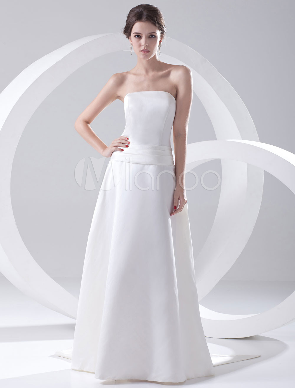 A-line White Satin Strapless Floor-Length Wedding Bridesmaid Dress