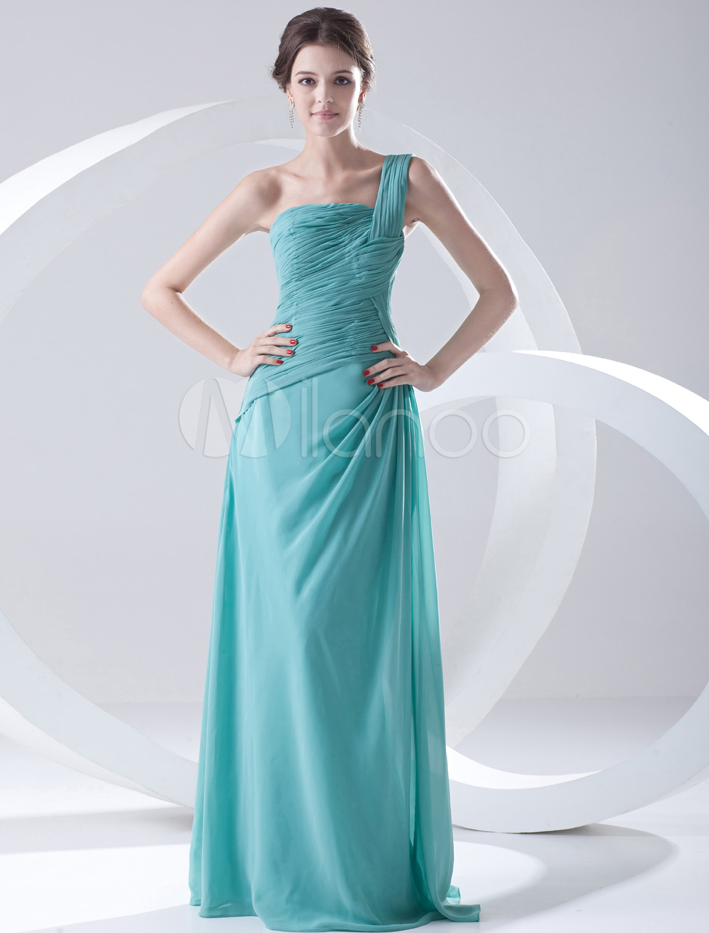 Sheath One-Shoulder Ruched Blue Chiffon Bridesmaid Dress