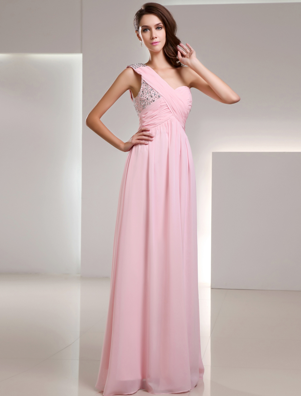 Pink One-Shoulder Sequin Chiffon Prom Dress (Wedding Prom Dresses) photo
