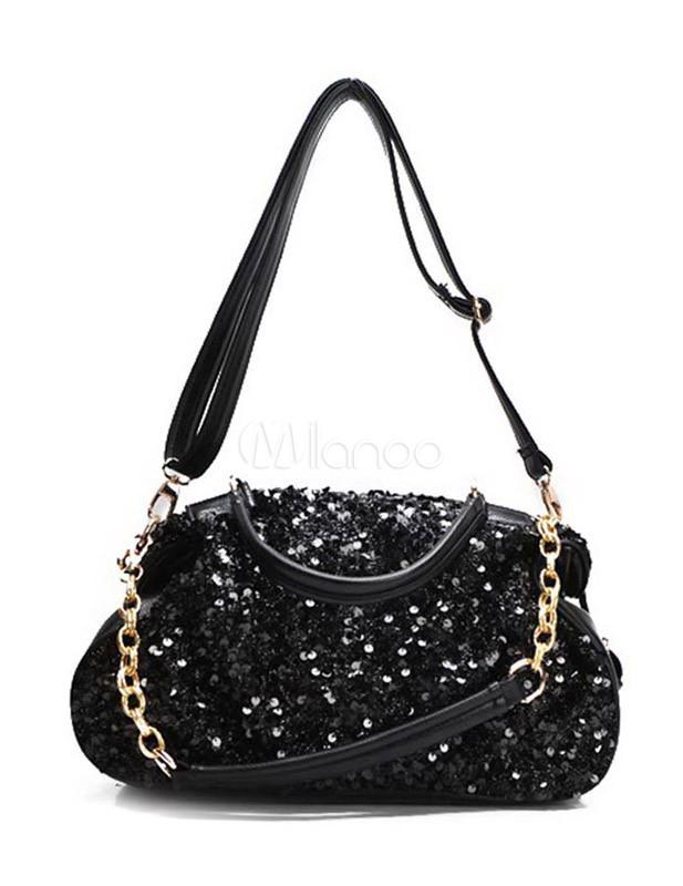 sac 224 moderne noir en pu avec paillettes milanoo