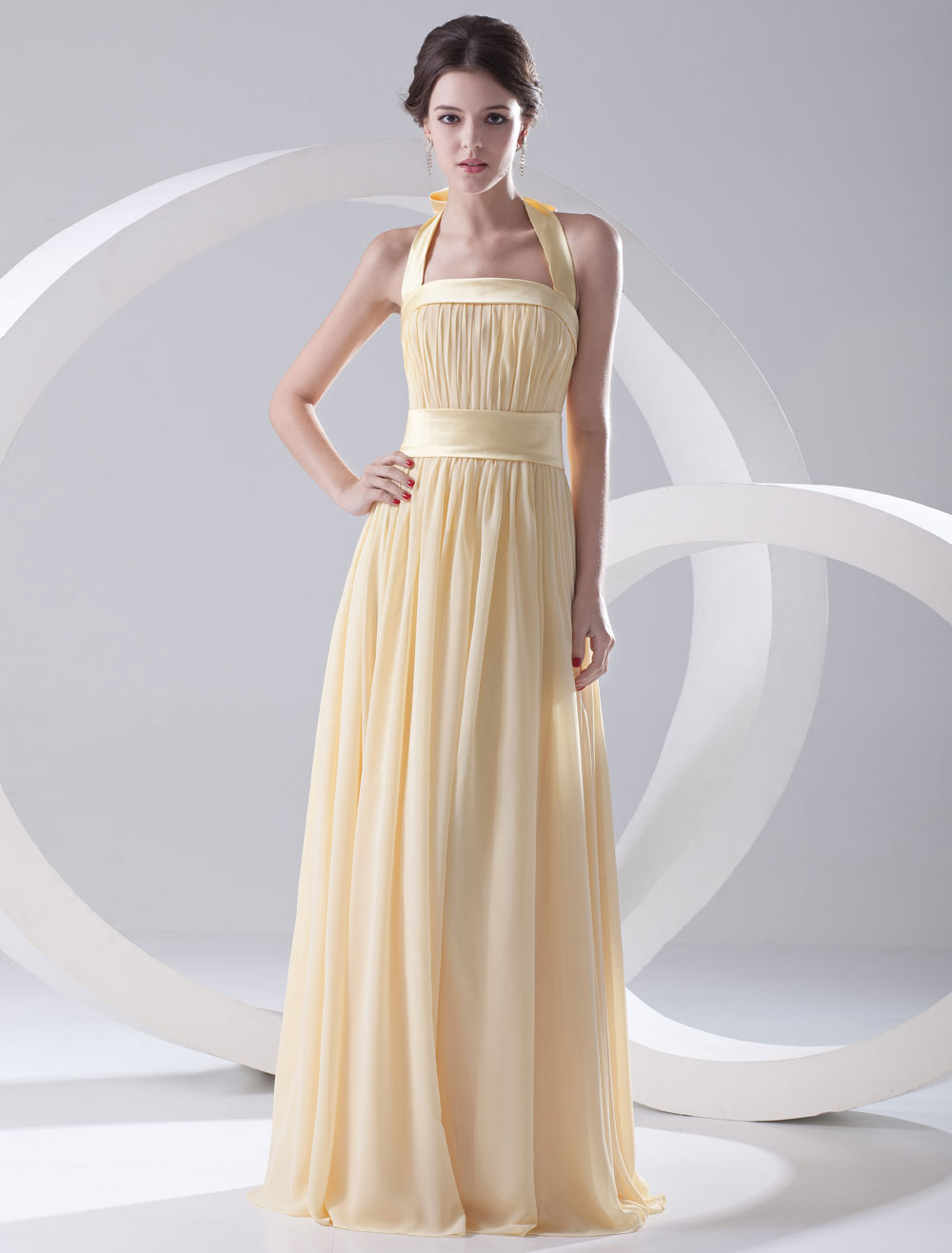 A-line Daffodil Chiffon Bow Halter Floor-Length Wedding Bridesmaid Dress