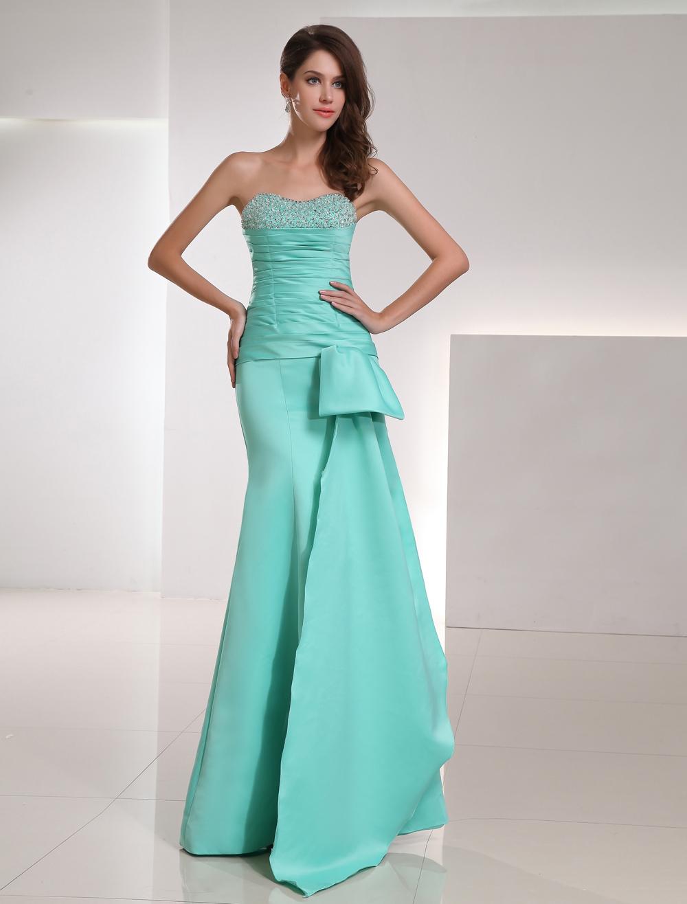 Mermaid Evening Dress Strapless Sweetheart Satin Long Prom Dress Mint Green Beading Ruched Floor Length Party Dress (Wedding Evening Dresses) photo