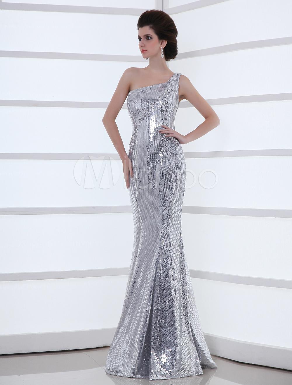 robe de soire sirne argente une paule avec paillettes milanoocom - Milanoo Robe De Soiree Pour Mariage