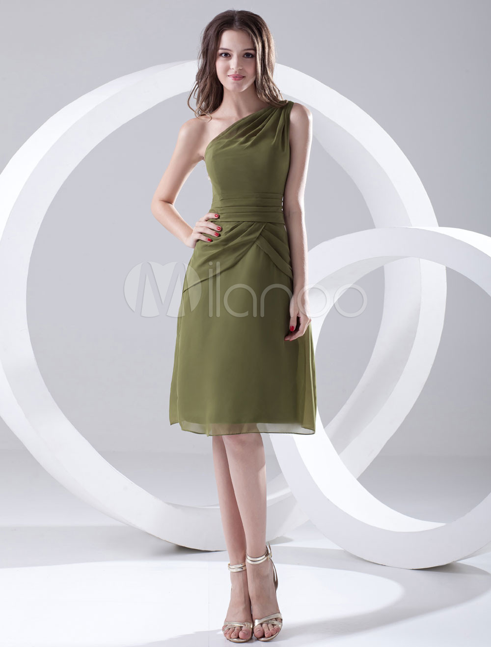 A-line Hunter Green Chiffon One-Shoulder Knee-Length Bridesmaid Dress For Wedding