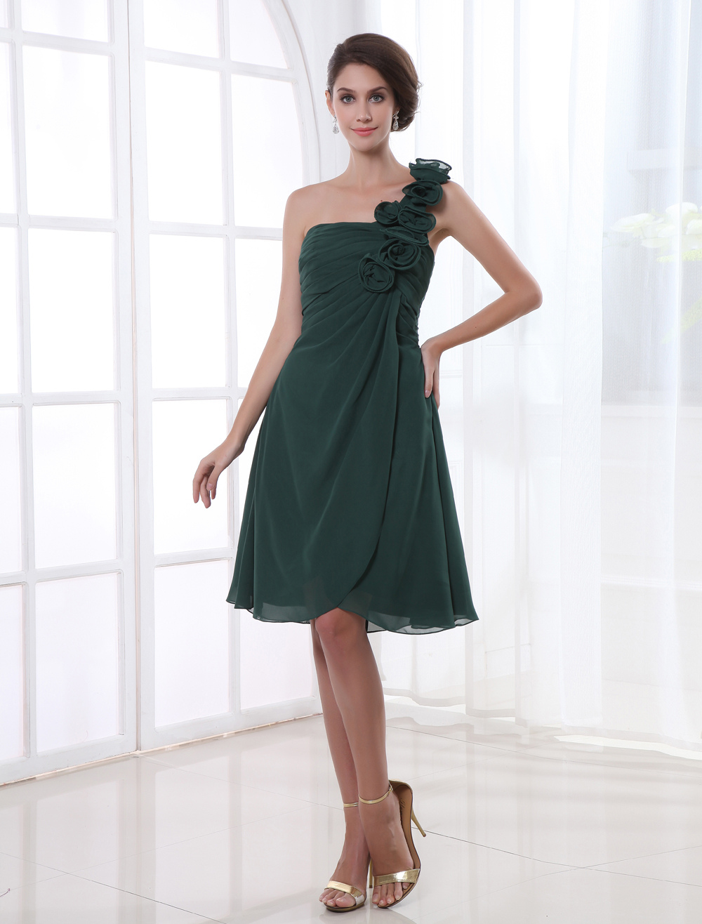 A-line Chiffon Floral One-Shoulder Knee-Length Wedding Bridesmaid Dress