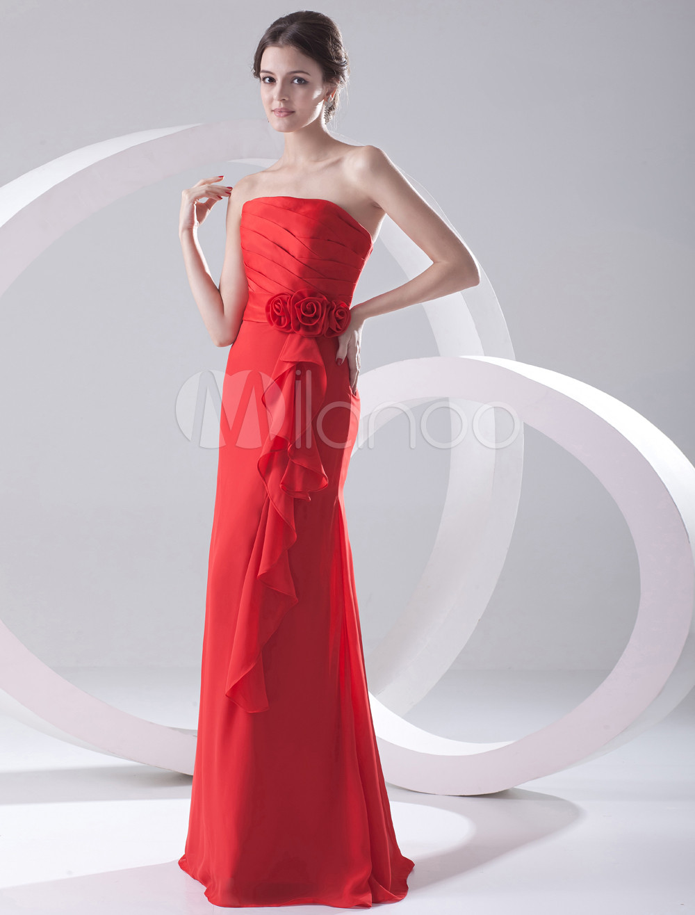 Sheath Red Chiffon Floral Strapless Floor-Length Wedding Bridesmaid Dress