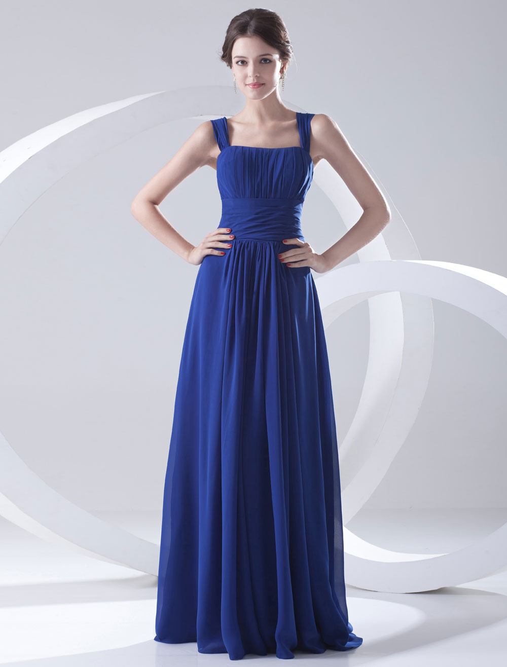 Blue Bridesmaid Dress Floor-Length Straps Sheath Ruched Chiffon Dress