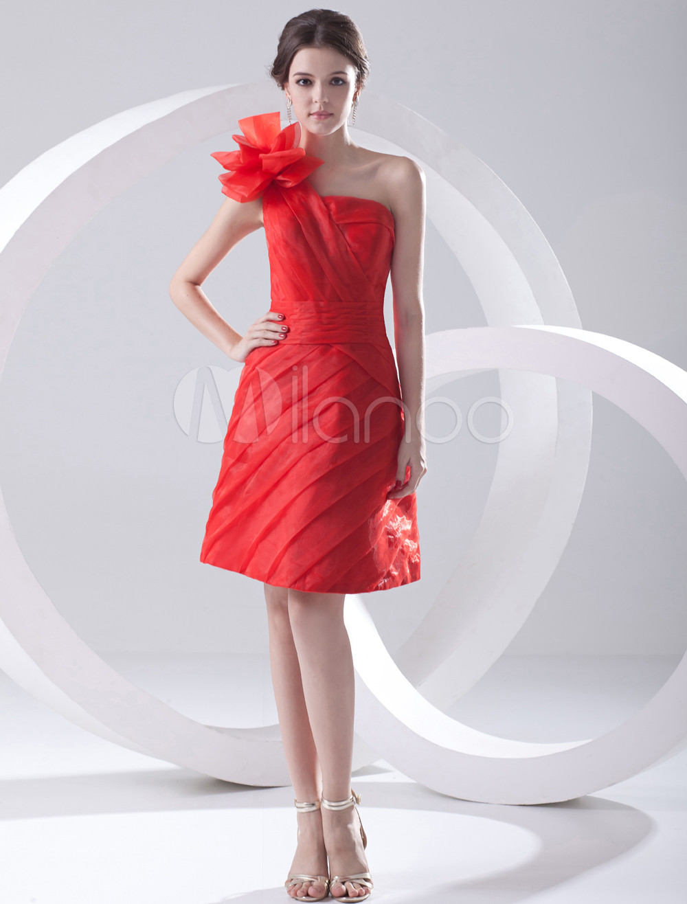 A-line Red Organza Floral One-Shoulder Knee-Length Bridesmaid Dress For Wedding