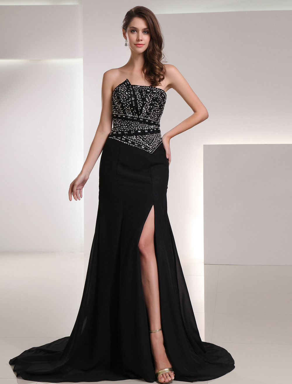 Black Chiffon Split Front Strapless Evening Dress (Wedding Evening Dresses) photo