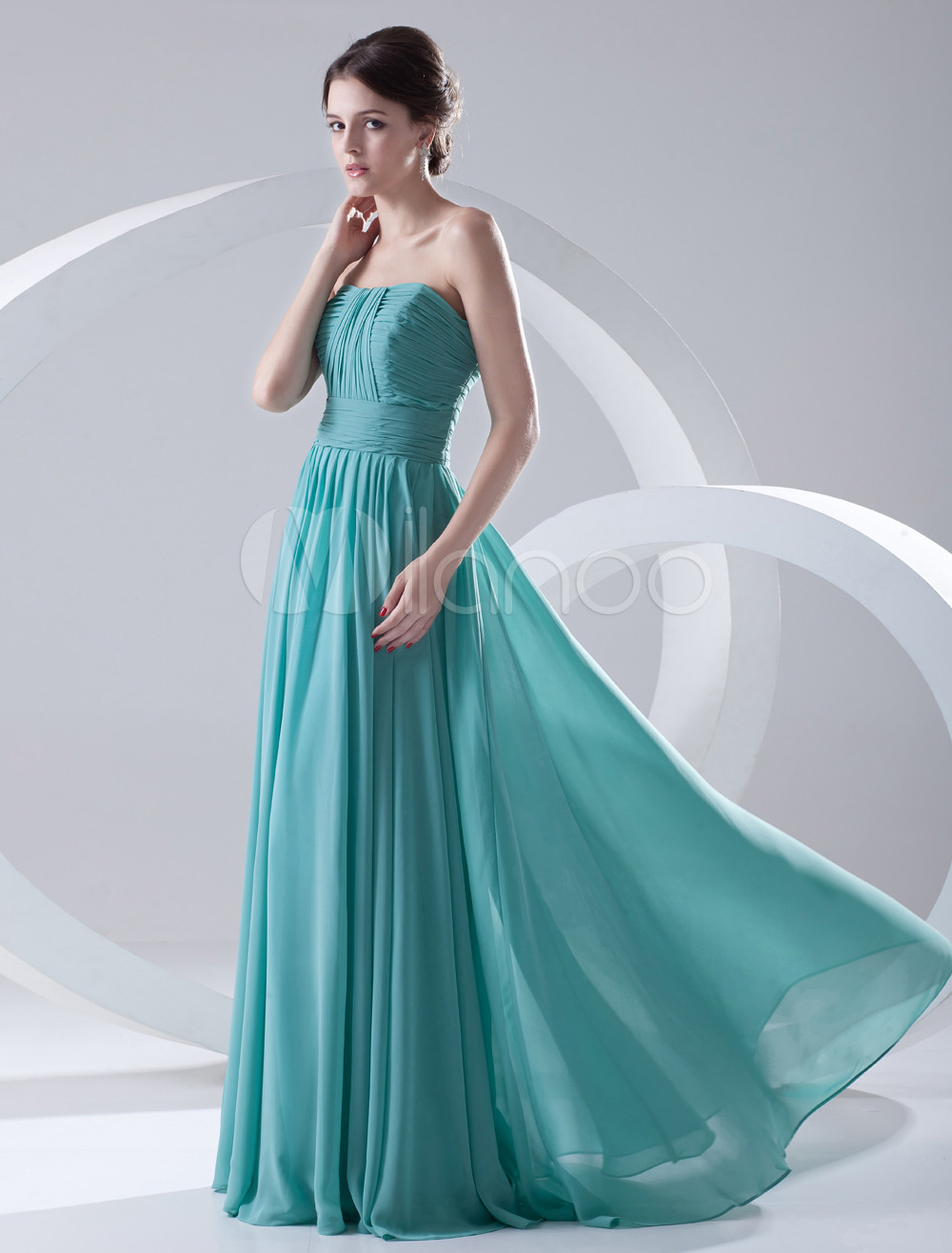 Long Bridesmaid Dress Chiffon Turquoise Evening Dress Sweetheart Strapless Ruched Floor Length Wedding Party Dress (Evening Dresses) photo