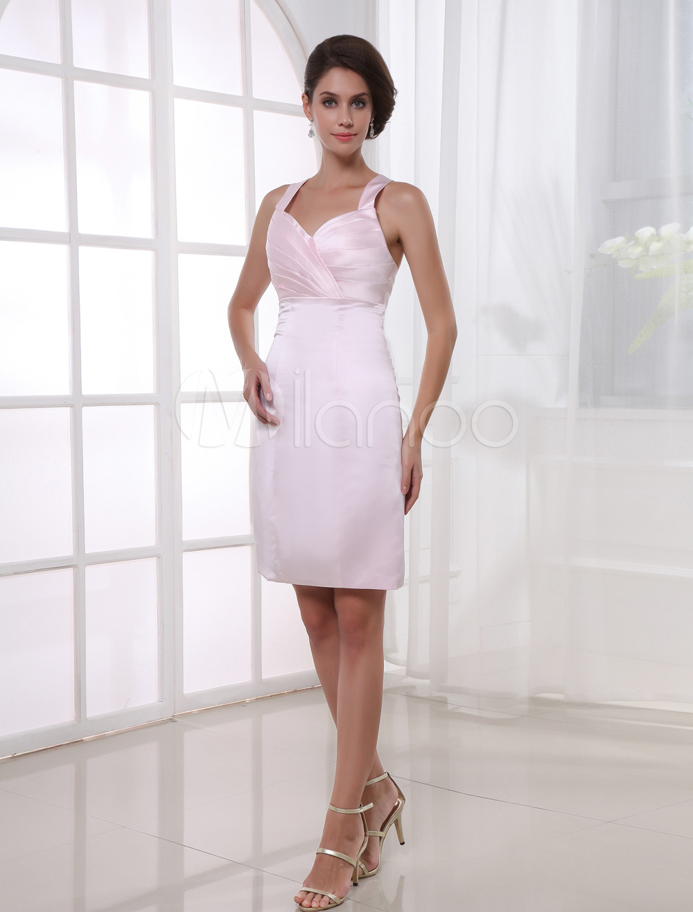 Sheath Sweetheart Neck Ruched Pink Satin Bridesmaid Dress