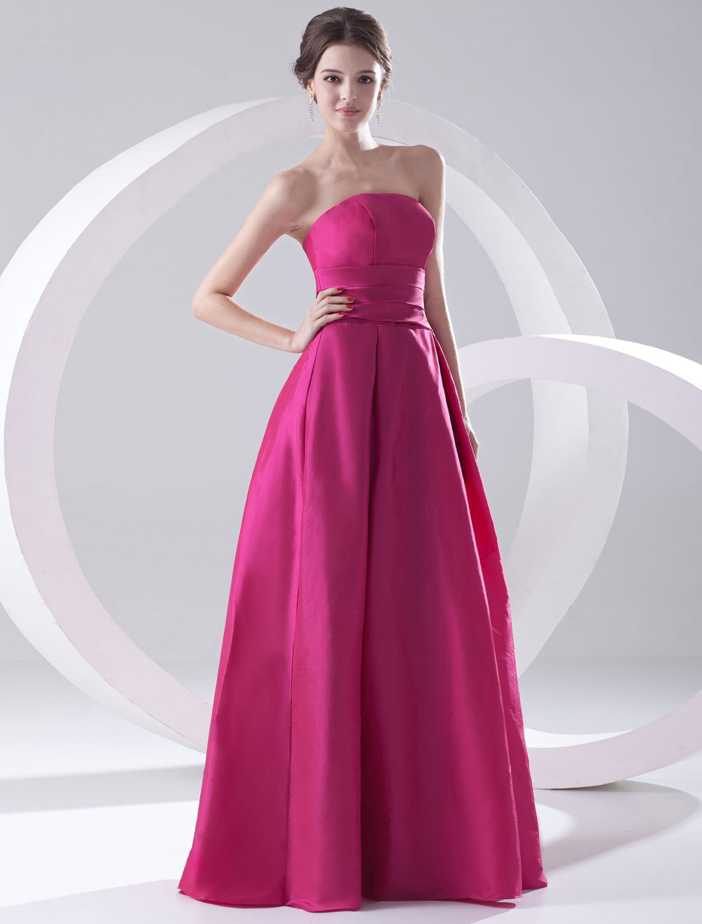 A-line Fuchsia Taffeta Strapless Floor-Length Wedding Bridesmaid Dress