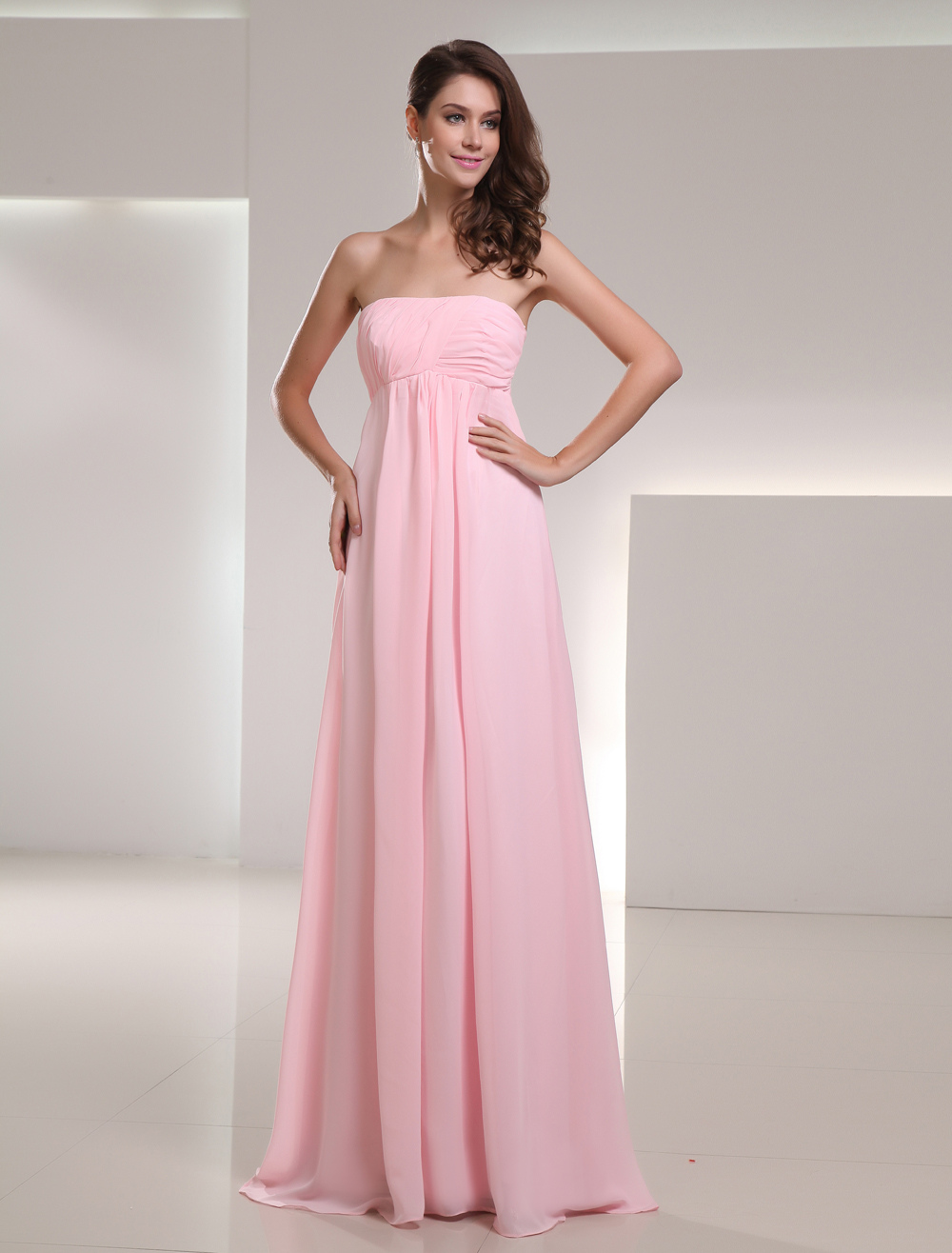 Empire Waist Pink Chiffon Ruched Strapless Floor-Length Fashion Bridesmaid Dress