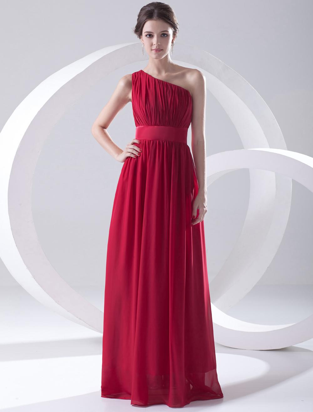 Red Chiffon One-Shoulder Bridesmaid Dress (Wedding Bridesmaid Dresses) photo