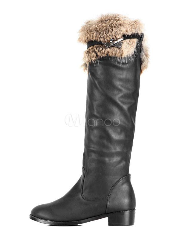 Cool botas de montar a caballo pu negro cuero peludo de la for Botas montar a caballo