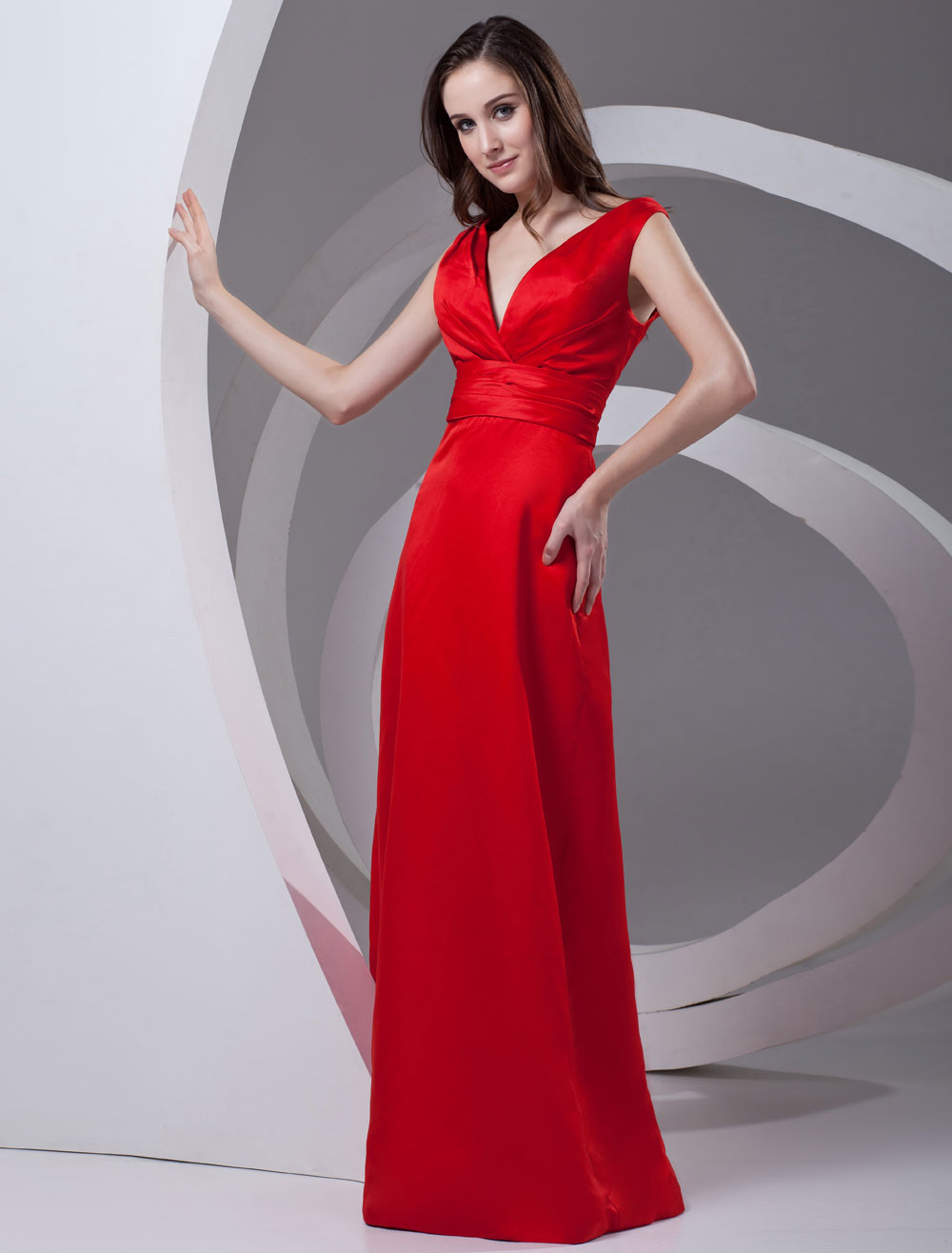 Sheath Red Satin V-Neck Floor-Length Wedding Bridesmaid Dress