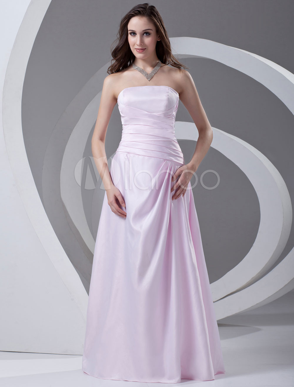 Strapless Floor-Length Pink A-line Ruched Satin Bridesmaid Dress