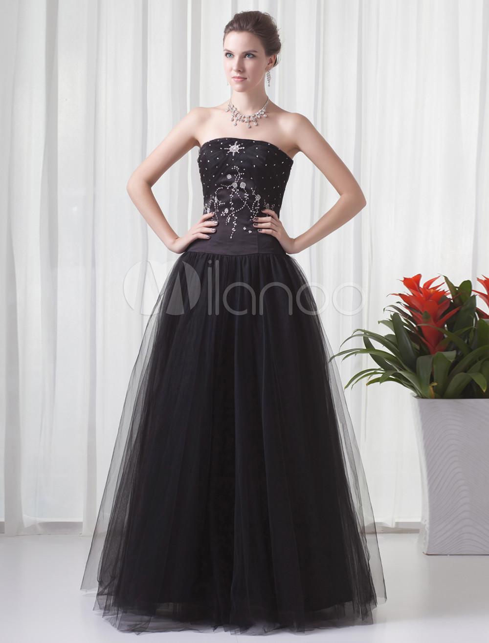 Ball Gown Black Net Beading Strapless Floor-Length Women's Prom Dress