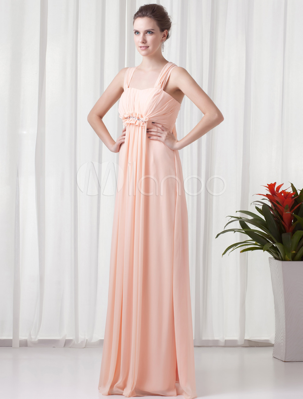 Sheath Pink Chiffon Ruched Square Neck Floor-Length Wedding Bridesmaid Dress