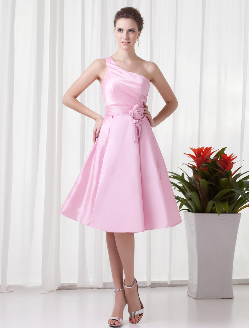 A-line Pink Taffeta Flower One-Shoulder Knee-Length Bridesmaid Dress For Wedding