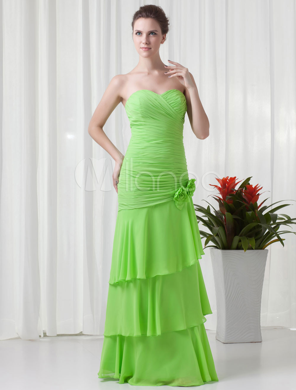 Mermaid Lime Green Chiffon Floral Sweetheart Bridesmaid Dress