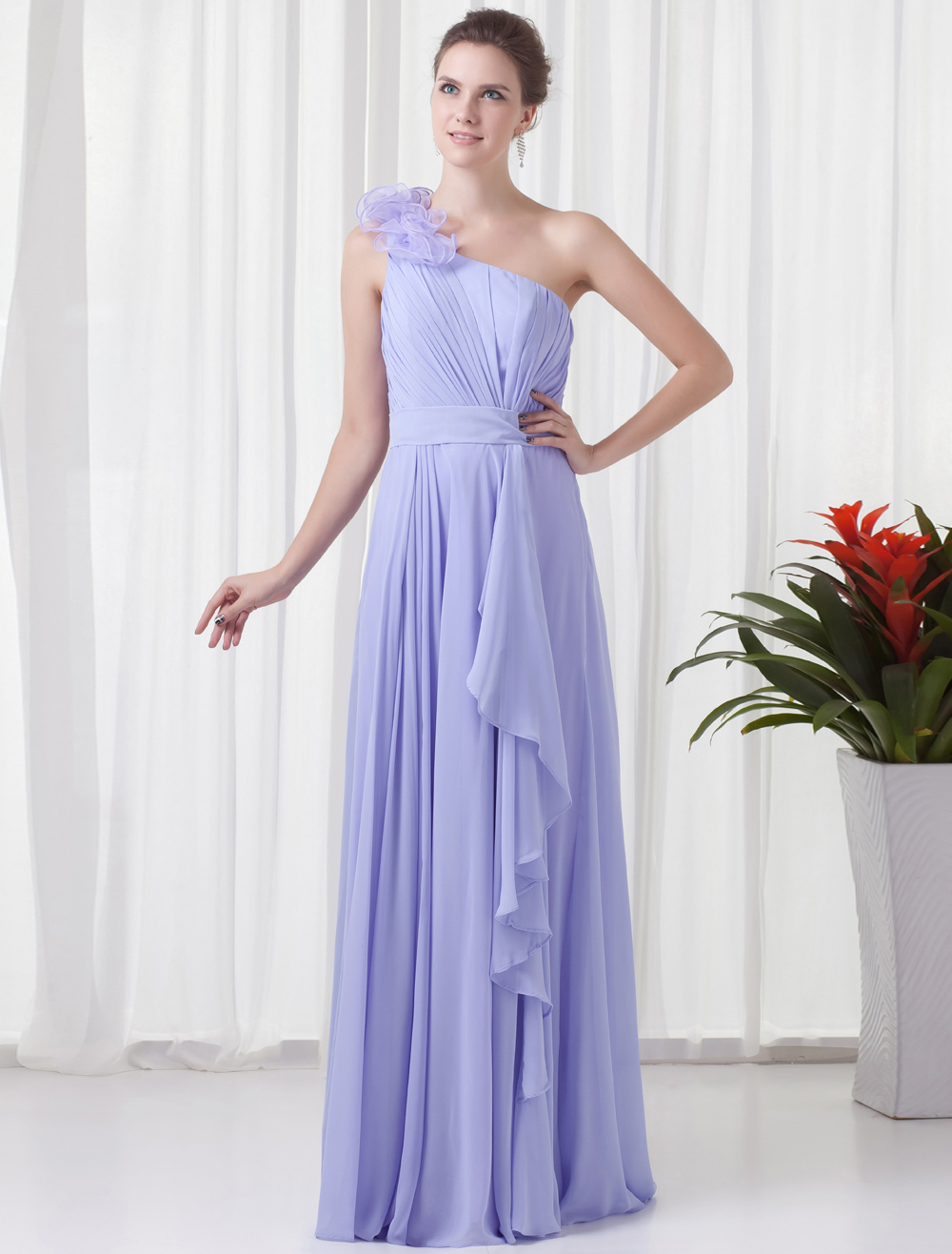Chiffon Bridesmaid Dress Violet One Shoulder Prom Dress Cascading Ruffle Pleated Floor Length Party Dress