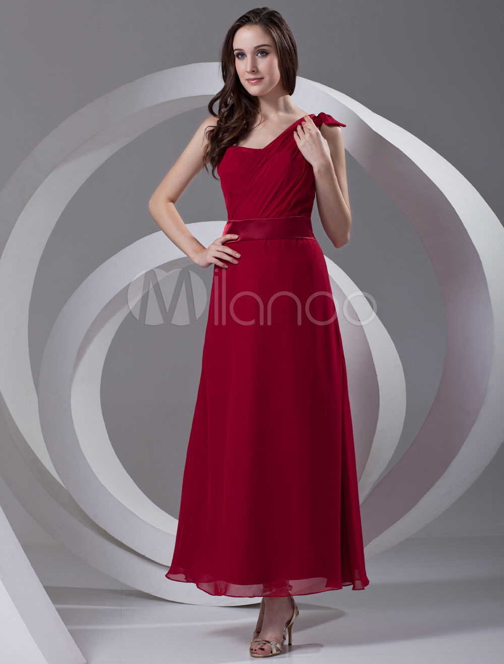 A-line Burgundy Chiffon Bow One-Shoulder Ankle-Length Bridesmaid Dress