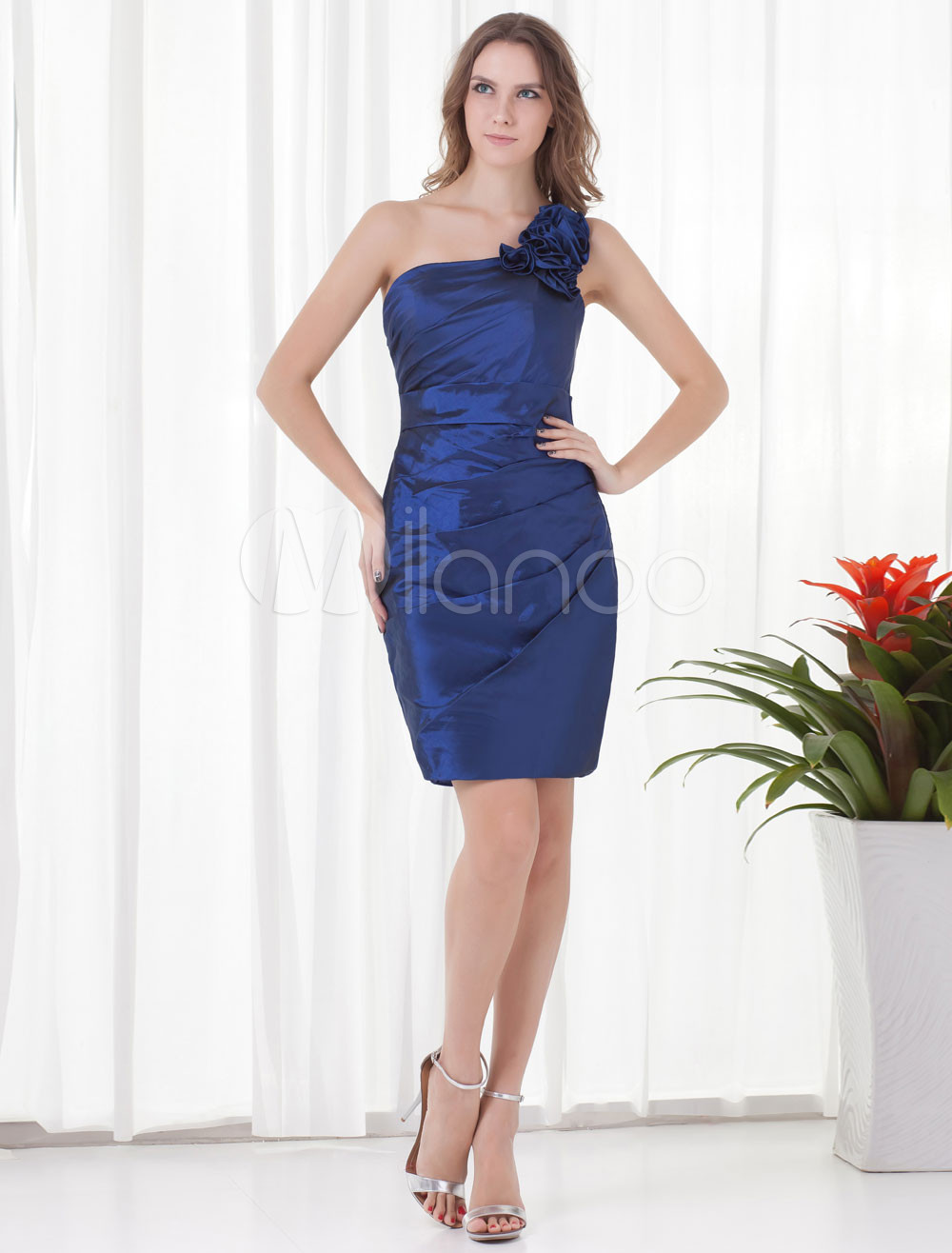 Sheath Royal Blue Taffeta Floral One-Shoulder Short Bridesmaid Dress