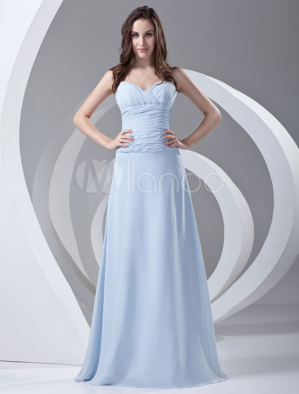 A-line Light Sky Blue Chiffon Ruched Wedding Bridesmaid Dress