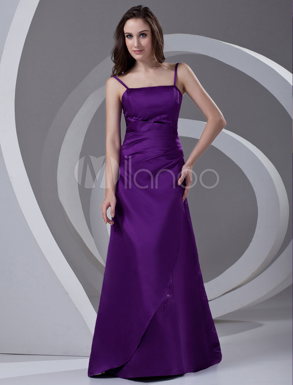 A-line Grape Satin Beading Floor-Length Bridesmaid Dress For Wedding