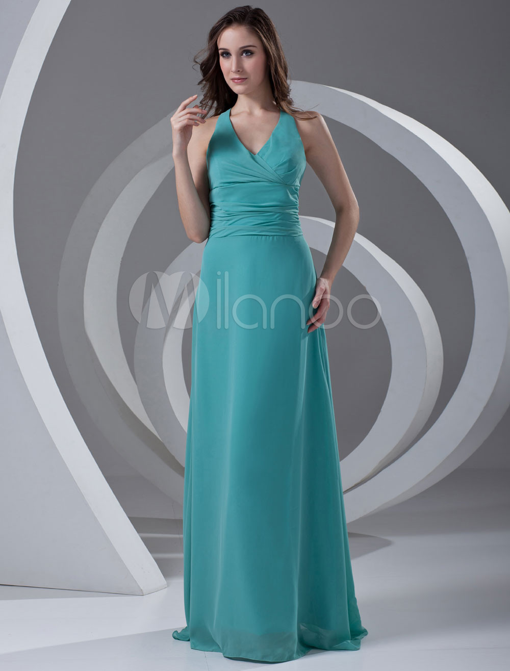 Halter Chiffon Hunter Green Pretty Bridesmaid Dress
