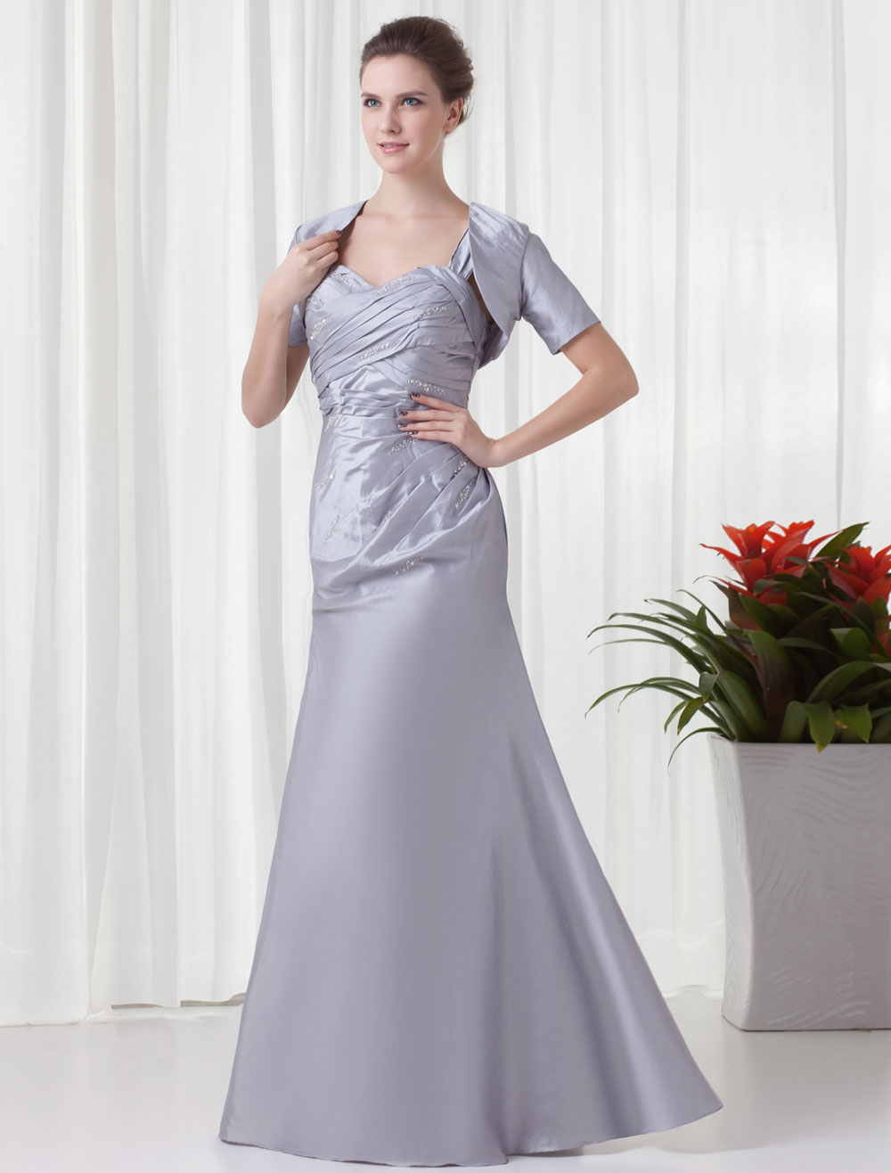 Mermaid Silver Taffeta Floor-Length Wedding Bridesmaid Dress