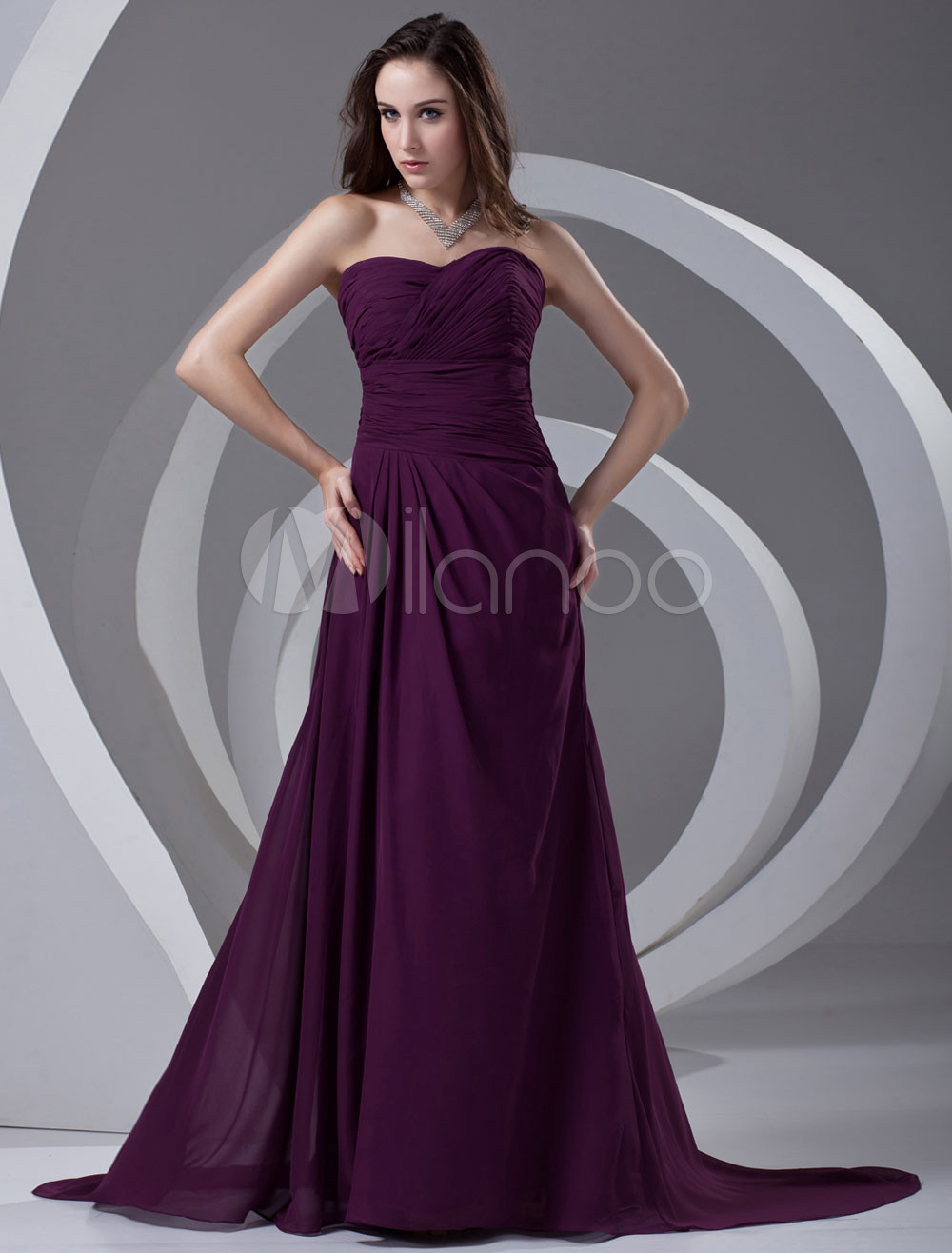 A-line Grape Chiffon Ruched Sweetheart Sweep Bridesmaid Dress For Wedding