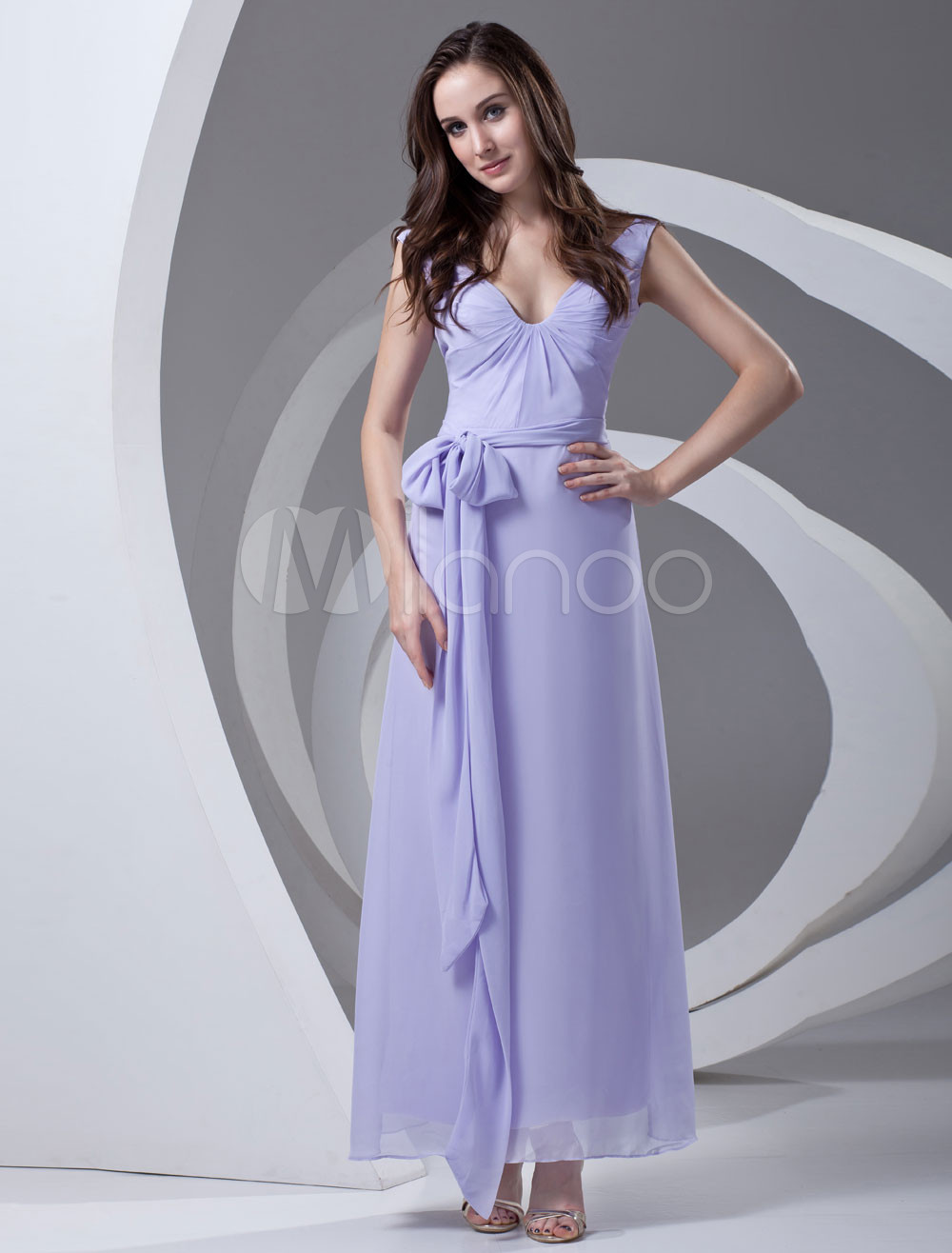 Sheath Lavender Chiffon Sash Off-The-Shoulder Ankle-Length Bridesmaid Dress For Wedding