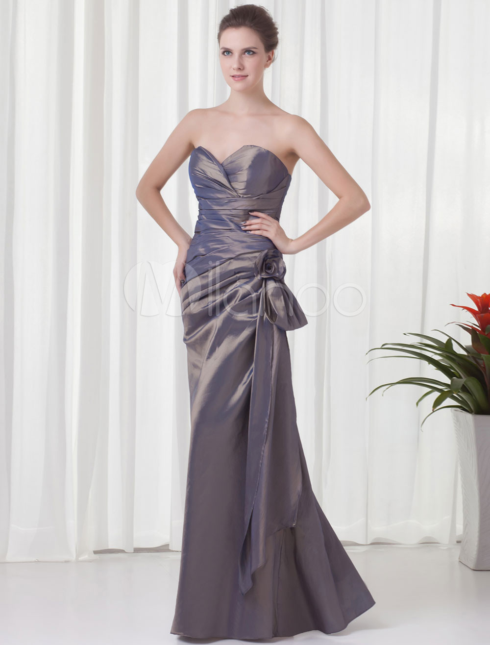Sheath Dark Navy Taffeta Floral Sweetheart Bridesmaid Dress
