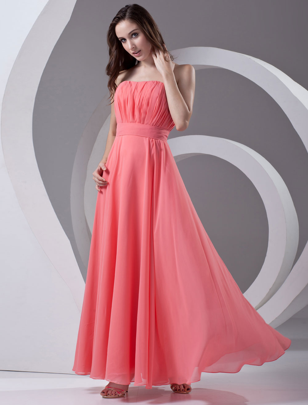 Empire Waist Pink Chiffon Ruched Strapless Bridesmaid Dress For Wedding