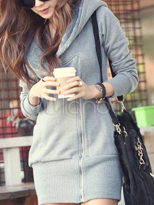 Grace Gray Zipper Cotton Women's Long Hoodie