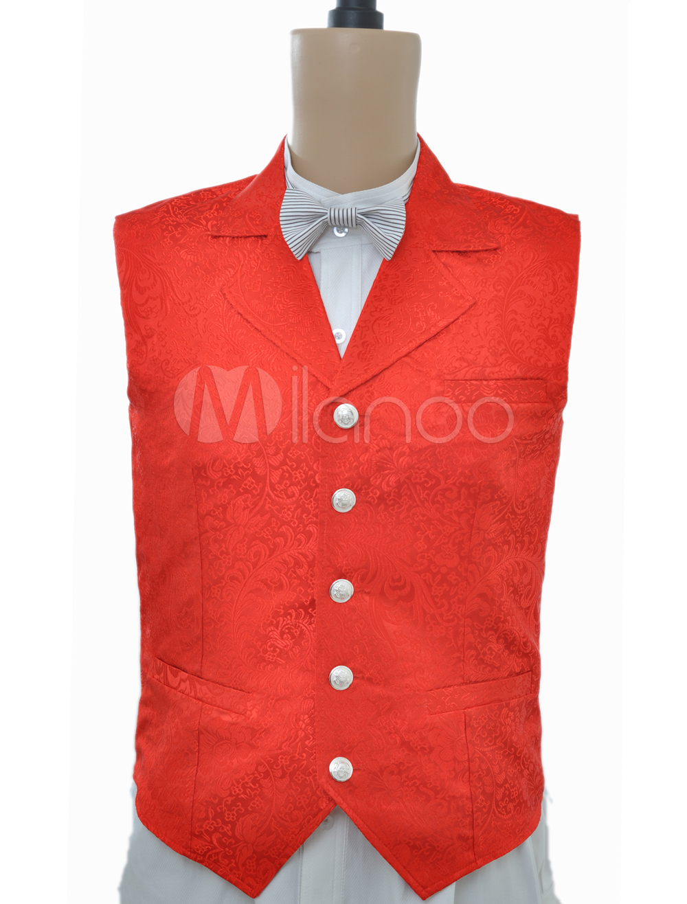 Gorgeous Red Jacquard Cloth Steampunk Waistcoat $49.99 AT vintagedancer.com