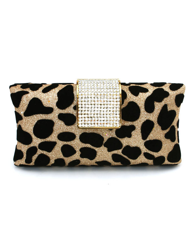 Gold Crystal Leopard Print Silk Women's Evening Bag
