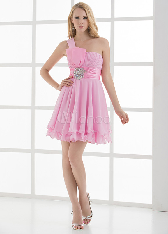 A-line Beading Bow One-Shoulder Knee-Length Bridesmaid Dress For Wedding