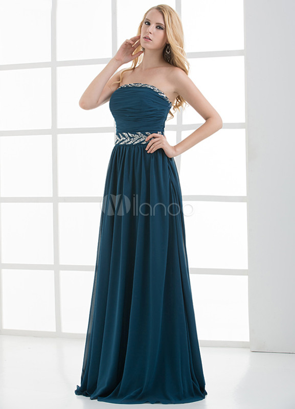 A-line Dark Green Beading Strapless Floor-Length Wedding Bridesmaid Dress