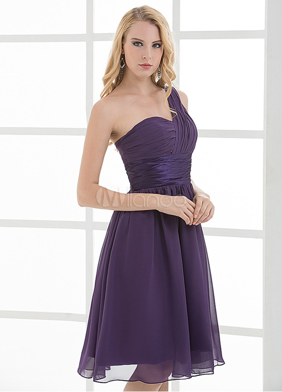 A-line One-Shoulder Knee-Length Bridesmaid Dress For Wedding