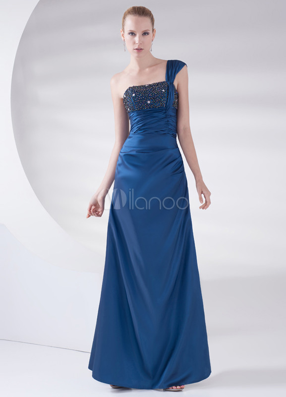 A-line Royal Blue Beading One-Shoulder Wedding Bridesmaid Dress