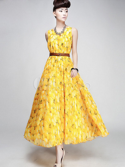 Yellow Jewel Neck Sleeveless Printed Chiffon Maxi Dress for Women
