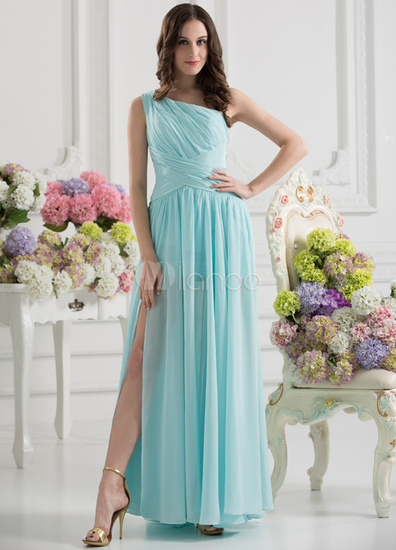 One-Shoulder Split Front Blue Grace Bridesmaid Dress