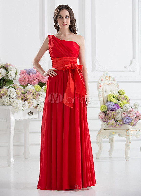 A-line Red Chiffon Bow One-Shoulder Wedding Bridesmaid Dress
