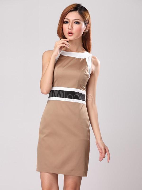 60ba71cb947 Robe droite classe robe longue coton simple