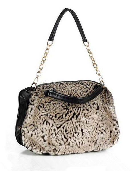 Chic Black Fur Artwork PU Leather Shoulder Bag For Woman